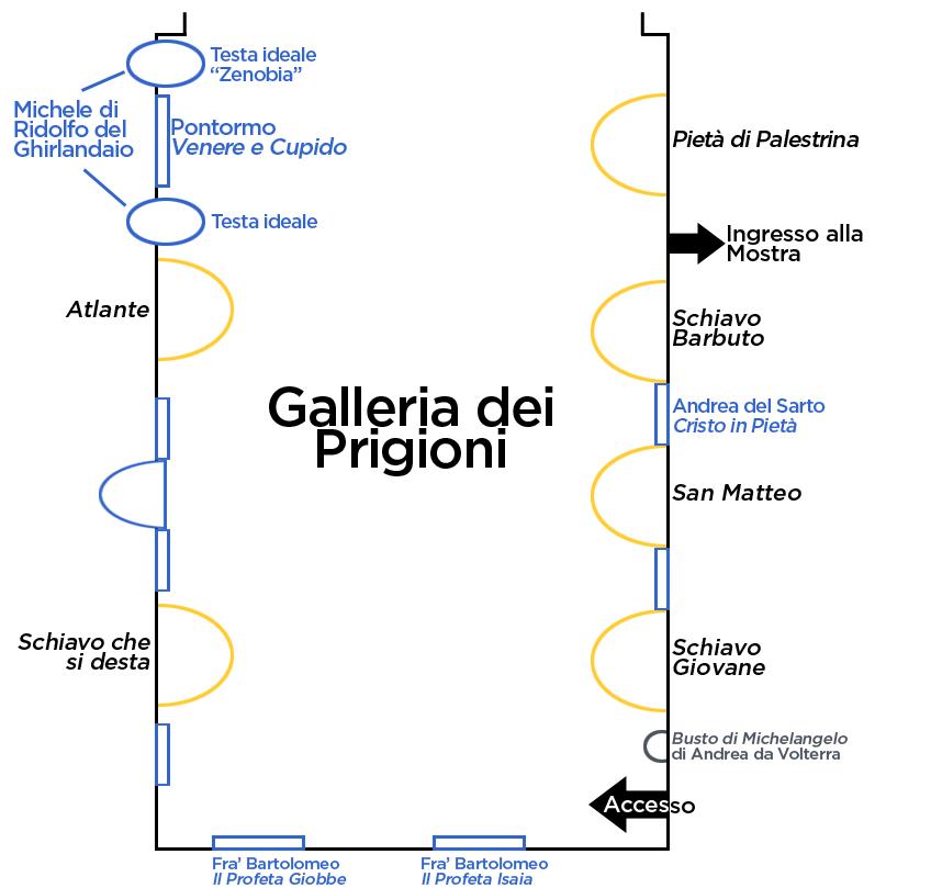 Mappa della Galleria dei Prigioni
