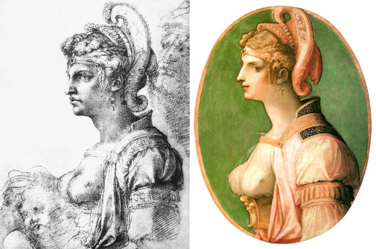 "Michelangelo's drawing on the left, Ghirlandaio's Ideal Head ""Zenobia"" on the right"