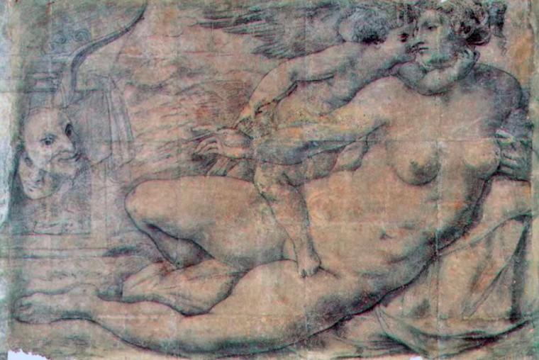 Michelangelo (attribuíto a), cartone per la Venere e Amore, carboncino, 1310 x 1840 mm, 1533c. Napoli, Museo e Gallerie Nazionali di Capodimonte, inv. 86654 http://figura.art.br/revista/dossier/vasari-e-la-parte-di-michelangelo-1543-1550/