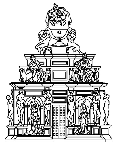 Reconstruction of the project by Michelangelo for the Julius II Tomb dated 1505 (1st project). Inspired reconstruction by F. Russoli, 1952