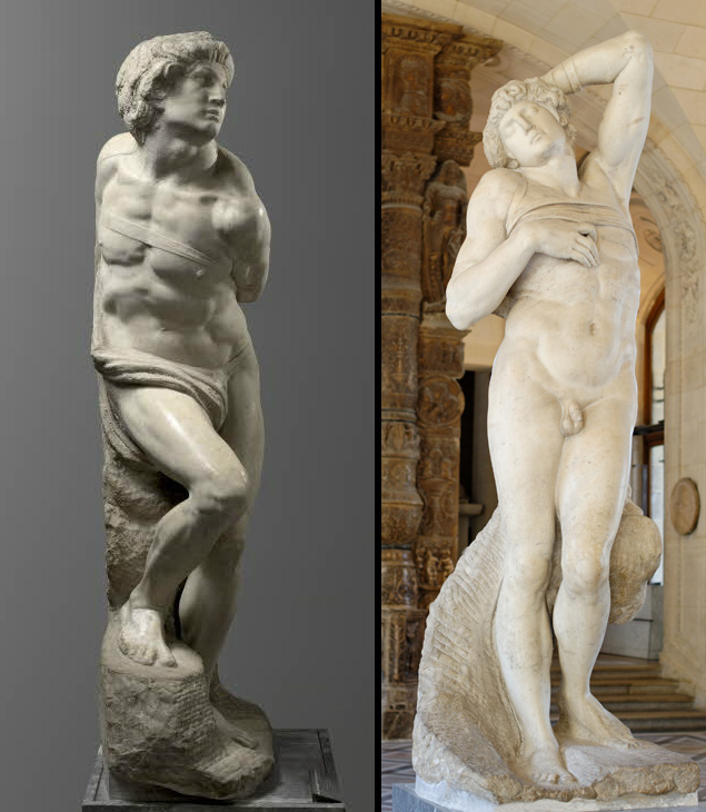 Lo Schiavo ribelle e lo Schiavo morente, al museo del Louvre Museum a Parigi