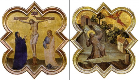 Two of Taddeo Gaddi's formelle - The Crucifix and Stigmata of St. Francis